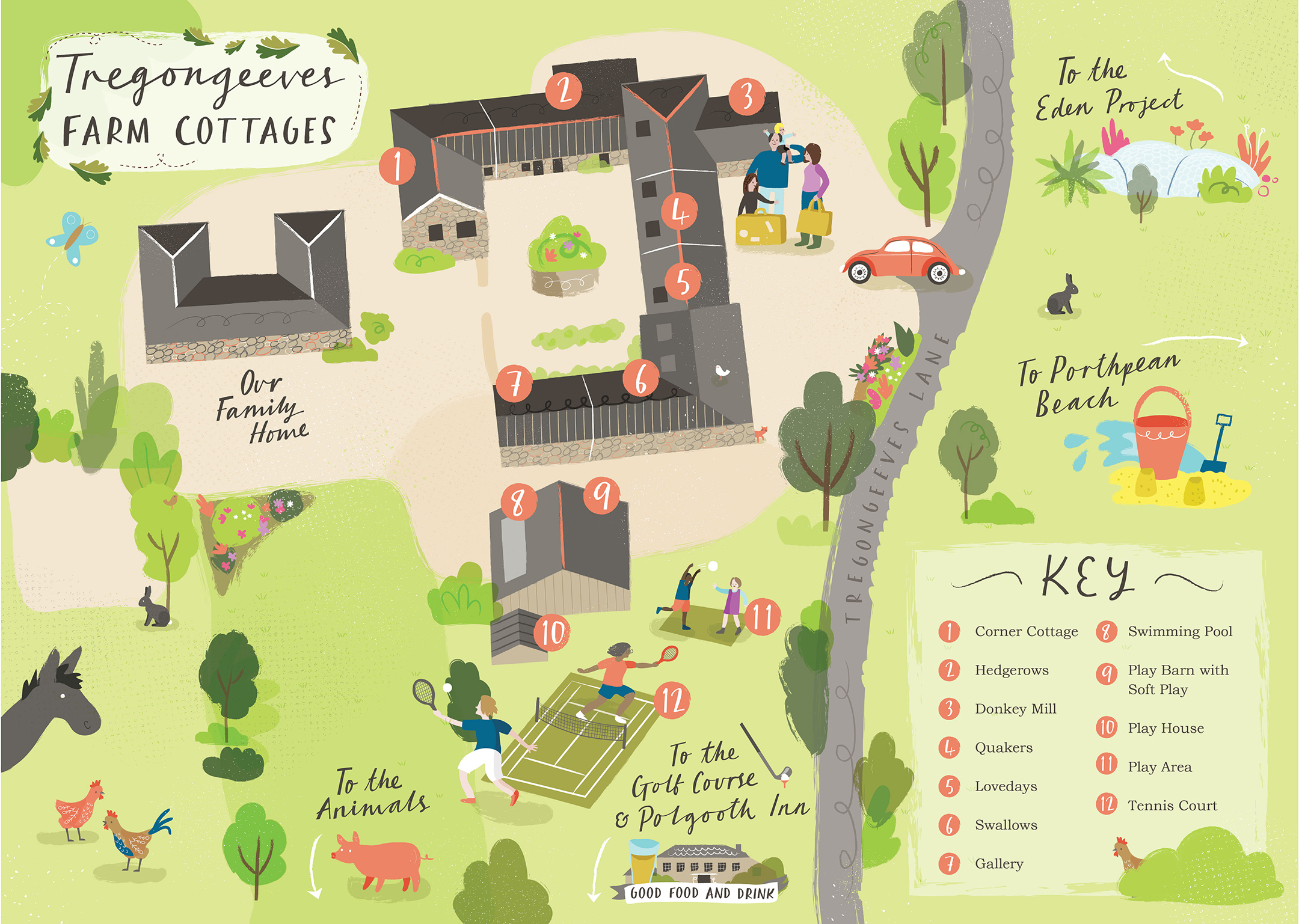 Illustrated map od Tregongeeves Farm Cottages
